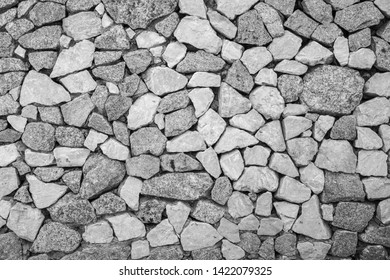 stone wall for background , black and white tone