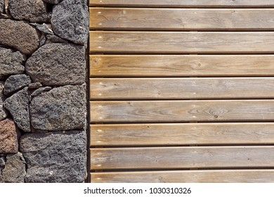 Stone wall background. stone and wood wall.