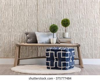 stone wall bank and rug