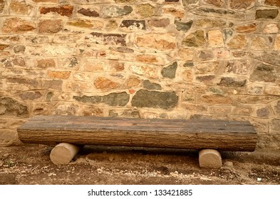 Stone wall and bench