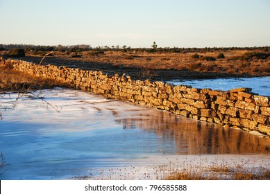 Stone wall by winter season at the landscape The Great Alvar Plain on the swedish island Oland