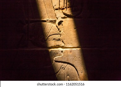 stone wall with Egyptian carving figures and hieroglyphs, Luxor, Egypt, Africa.
