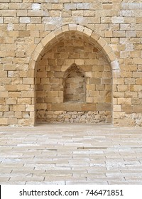 Stone wall with embedded niche, Exterior wall at the corridors surrounding Alexandria castle