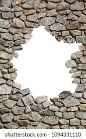 Stone wall frame with empty big hole.  A wall of stone with white small space in the middle. Frame brick wall rocks.