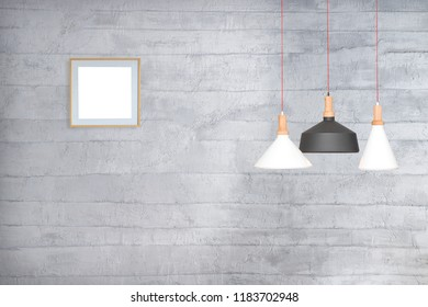 stone wall interior design and modern lamp