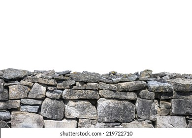 Stone wall isolated on white background