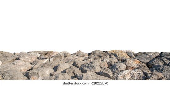 Stone wall isolated on white background.
