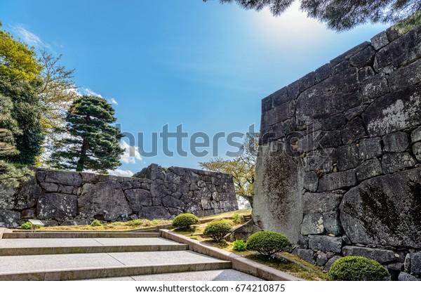 Stone wall of Kanazawa castle Otemon gate