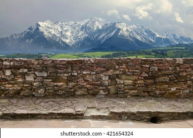Stone wall in the mountains