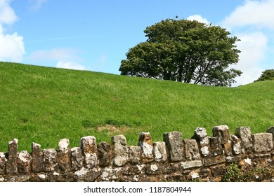 Stone wall, Ogmore Castle, Wales