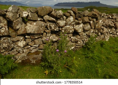 Stone wall on the Isle of Muck in the Hebrides