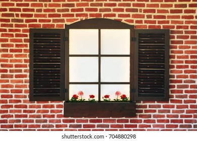 Stone wall with a open window. Window with wooden shutters. Bright abstract background ideal for any design