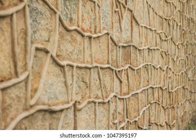 Stone wall with organic texture.  Florianópolis, Santa Catarina / Brazil