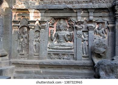 Stone wall panel of Brahma at Kailash Temple in Ellora, Maharashtra, India, Asia