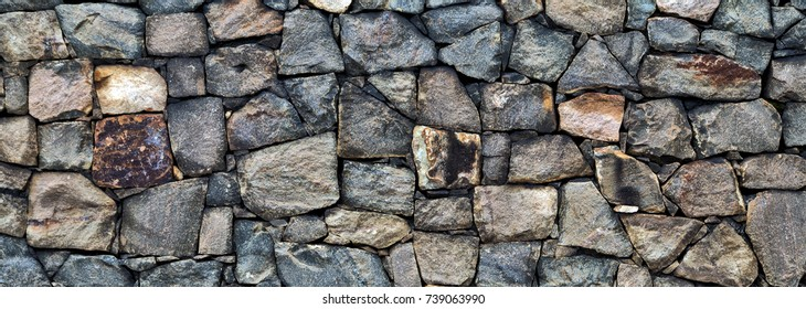 Stone wall rustic texture gray color of modern style design decorative background