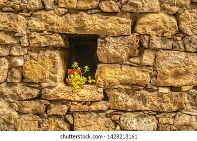 Stone wall in Tenno, close to Riva del Garda, Italy.
