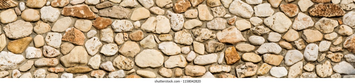 Stone wall texture background, panorama of stone wall, masonry background