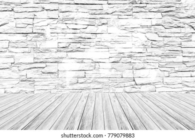 Stone wall texture background surface natural color , process in white color with white wood terrace with world map