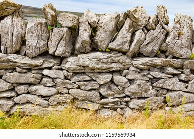 Stone wall and vegetation in Ballyvaughan, Ireland