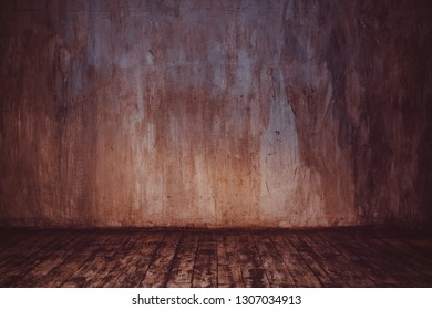 Stone wall and wooden floor background in warm colors