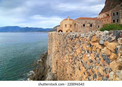 Stone walls of a Byzantine town above the Mediterranean sea, Monemvasia, Greece