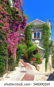 Stone walls decorated with pink flowers in the old town of Saint Paul De Vence, France