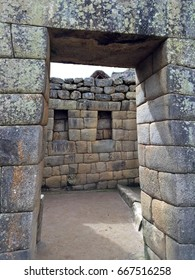 Stone walls in Machu Picchu - an Incan citadel set high in the Andes Mountains in Peru