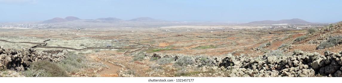 Stone walls on the Fuerteventura island, Spain
