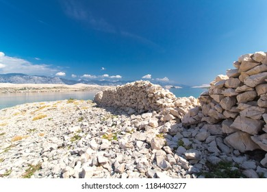 Stone Walls on the Island of Pag, Croatia, Europe
