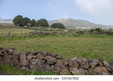 Stone walls and rural landscape, on the island of El Hierro in the Canary Islands, a haze day