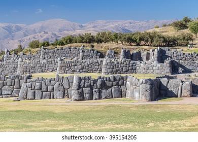 Stone Walls at Saksaywaman, Saqsaywaman, Sasawaman, Saksawaman, Sacsahuayman, Sasaywaman or Saksaq Waman citadel fortress in Cusco, Peru
