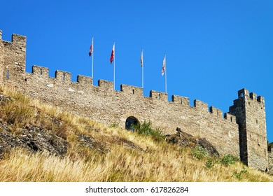 Stone walls of Tourbillon castle on the hill in Sion, Canton Valais of Switzerland.