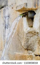stone water fountain closeup