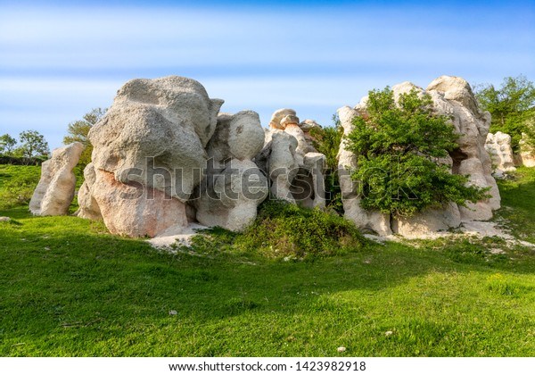 Stone wedding limestone formation near Kardzhali city in Bulgaria