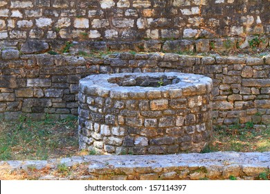 Stone well providing water to medieval fortress in Mediterranean area
