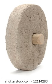 Stone wheel on a white background depicting the first wheel ever made
