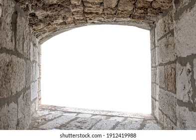 Stone window with arch isolated with white background