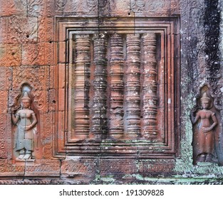 Stone window and goddess in ancient temple of Angkor, Siem Reap, Cambodia, Asia