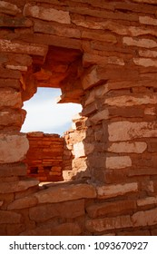Stone window at Lomaki Pueblo ruin in Wupatki National Monument in northern Arizona
