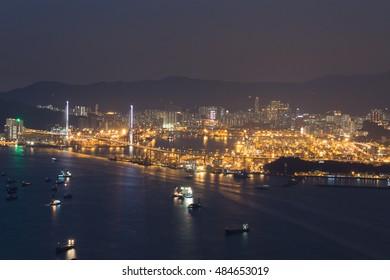 Stonecutters island at night, Hong Kong