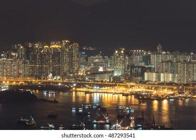 Stonecutters island at night, Hong Kong - long exposure
