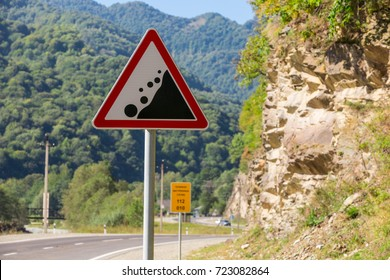 stone-fall warning sign