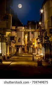 Stonegate York at night with full moon. Image taken on the 20/07/2016 in York England
