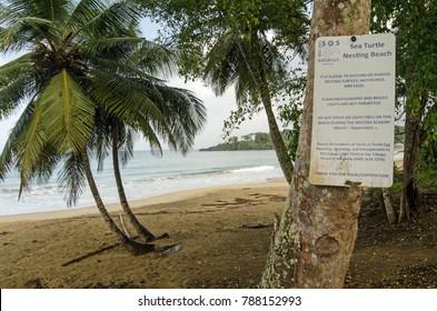 STONEHAVEN, TRINIDAD AND TOBAGO  - JANUARY 6, 2018:  Sign at Stonehaven Bay warning the beach is one of the few nesting sites of the endangered leatherback turtles.