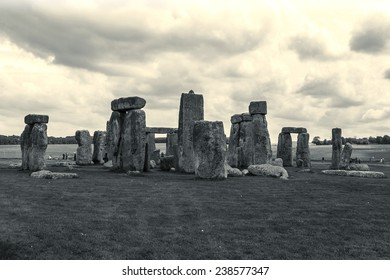 Stonehenge - an ancient prehistoric stone monument near Salisbury, Wiltshire, UK. It was built anywhere from 3000 BC to 2000 BC. Stonehenge is a UNESCO World Heritage Site in England. Vintage photo.