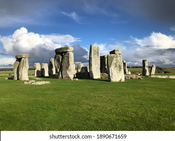 Stonehenge In Autumn With Dramatic Sky and Clouds