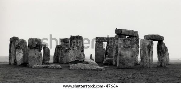 Stonehenge black and white longshot.