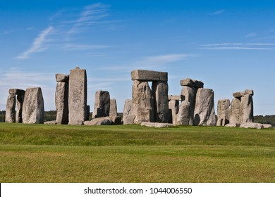 Stonehenge with a blue sky and clouds, United Kingdom