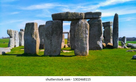 Stonehenge and blue sky, England