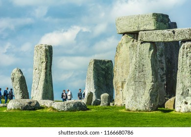 Stonehenge. Detail view of ancient prehistoric stone monument near Salisbury, Wiltshire, England, UK.
